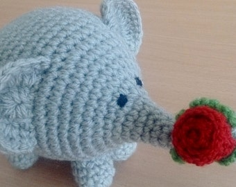 Say It With A Rose Crochet Amigurumi Elephant