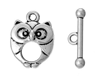 Toggle Clasp, Owl Toggle Clasp, Antique Silver Finish, (CLP-T-AS-8), 5 sets