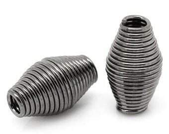 Gunmetal Finish Spring Spacer Beads, 12 mm x 7 mm (SB-12x7-GM-1), 20 count