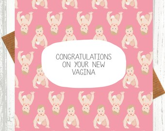 Funny New Baby Card - Congratulations On Your New Vagina - Pink - funny baby card - shocking cards - rude cards - baby girl card