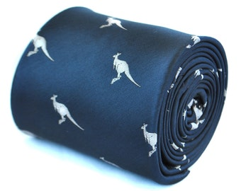 navy blue tie with kangaroo design with signature floral design to rear by Frederick Thomas FT1933