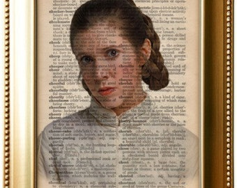 Star Wars Princess Leia art on 1923 5X7 upcycled dictionary page, buy 2 get 1 FREE!