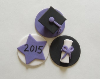 Fondant Graduation Cupcake Toppers - Graduation Cap, Diploma and Year Plaque