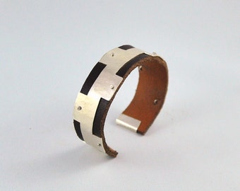 Magnus bracelet (for men), silver and leather