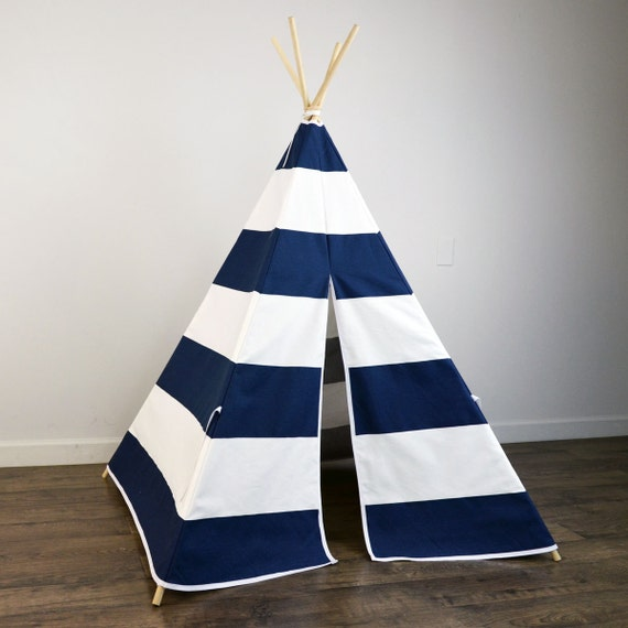 Kids Play Teepee Tent in Navy Blue and White Large Horizontal