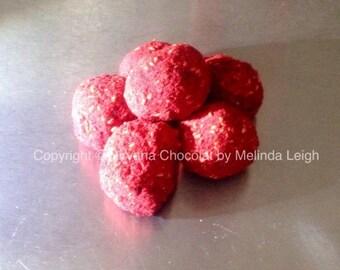 Dark chocolate raspberry truffles