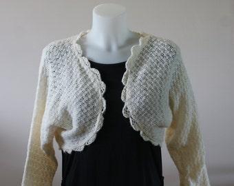 Vintage Ivory Knit Bolero Style Long Sleeve Cardigan Dressy Handmade Size Large M-570