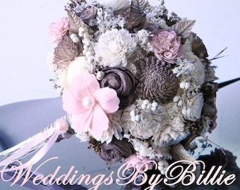 Weddings, Fall Bouquet, Pink Brown Bouquet,Burlap Lace,Ivory Bouquet,Alternative Bouquet,Rustic Shabby,Bridal Accessories,Keepsake Bouquet