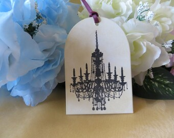 Chandelier Gift Tags - Set of 6 - Handmade - Bookmark - Favor Tags
