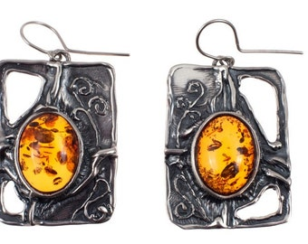 Amber Silver Earings, Handmade Earings