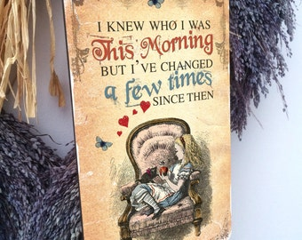 Alice in Wonderland Mad Hatter Hanging Wooden Plaque Decoration THIS MORNING