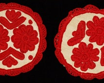 Two Traditional Kalotaszegi Hand Embroidered Linen Round Tablecloth from the 80s