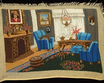 Beautiful Vintage Petit Point Gobelin Picture From the 70s