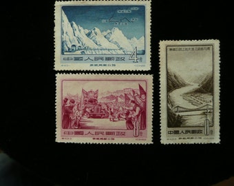 FREE SHIPPING Vintage Chinese postage stamp,Set of 3  mint stamps,Year 1956,High road to Tibet