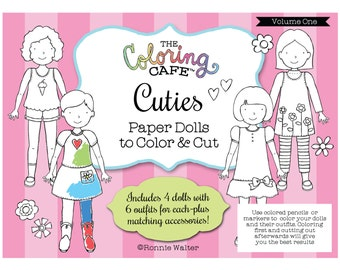 The Coloring Cafe ™ Cuties-Coloring Paper Dolls