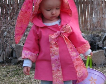 Very Cute Pink Bunny Jacket For Little Girls