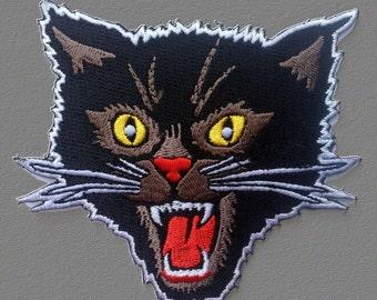 Black Screaming Cat Rockabilly Horror Tattoo Goth Punk Rock Patch