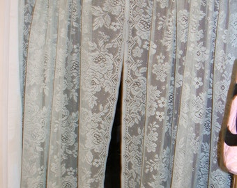 Five Blue Lace Curtains, Shabby Chic, Cabbage Roses