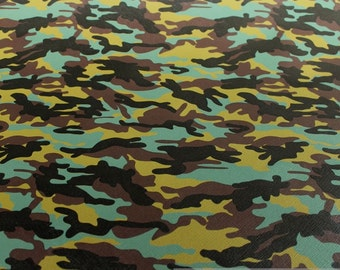 Fabric PVC nappa Camouflage green leatherette