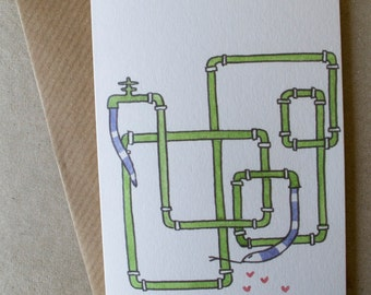 Snake in love_Pipes_Blank Greeting Card