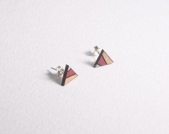 Wooden earrings, wooden stud earrings, triangle earrings, geometric stud earrings, laser cut jewellery, laser cut earrings