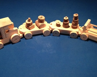 Handcrafted Wooden Train With Carriages