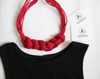 Navy necklace red rope/Rope Necklace