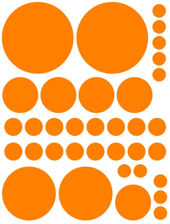 Bright Orange Polka Dots Shaped Decals great for Teen, Kids, Baby, Nursery, Dorm Room Walls - Removable Custom Made -Super Easy to Install