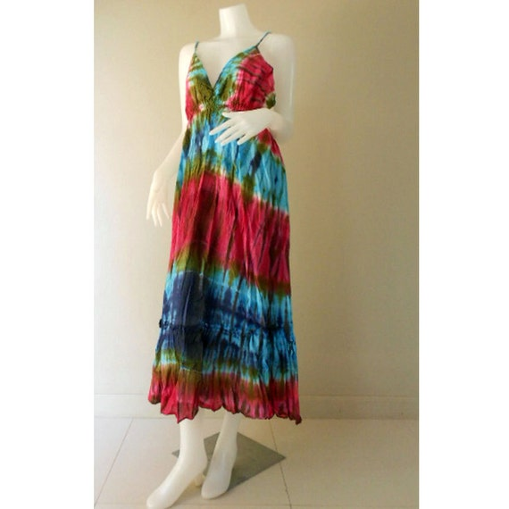 Boho Hippie Gypsy Colorful Women Dress Summer Sexy Dress, Tie Dye Cotton Halter Maxi Beach Comfy Casual Sundress Dress M-XL (DMSS 388)