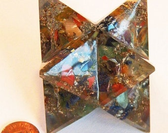 Huge 3.5 Inch ORGONE CHAKRA Solid Crystal Sacred Geometry MERKABA Star, Orgonite, Reiki, Sacred Geometry