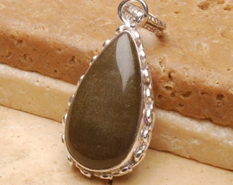 Natural Gold Sheen Obsidian silver plated  pendant  (#J487)