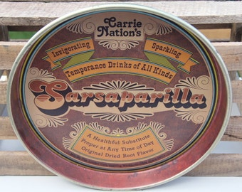 Vintage Cheinco Carrie Nations Sarsaparilla Tray, Vintage Advertising, Ballanoff Inspired, Serving Tray, Retro Serving Tray