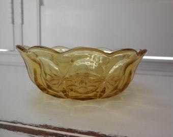 Vintage Anchor Hocking Amber Bowl - Fairfield Pattern