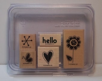 Stampin' Up! HELLO AGAIN Set of 5 Wood Mounted Rubber Stamps, Gently Used