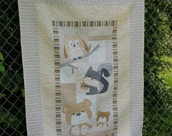 """Wee woodland free motion baby or toddler quilt with owl, squirrel and bears 41""""x60"""""""