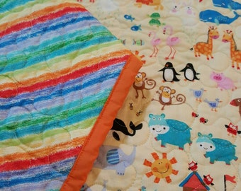 Reversible Noah's Ark and rainbow baby quilt, free motion quilted