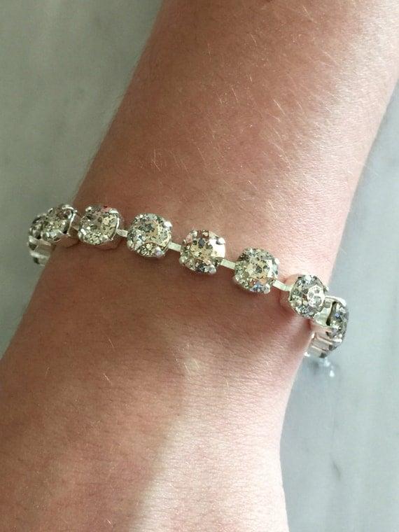 Rose Patina Crystal Bracelet,  Pink Crystal Bracelet, Crystal Tennis Bracelet, Pink Tennis Bracelet, Rose Crystal Bracelet