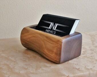Sculpted Wood Business Card Holder Black Walnut Natural