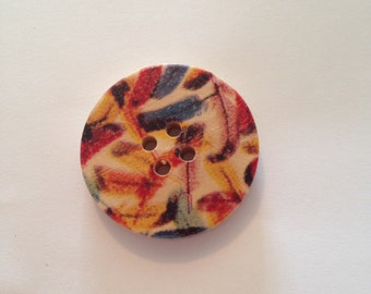 Multi Coloured Feather Print Round Button, pack of 8 FREE UK POSTAGE