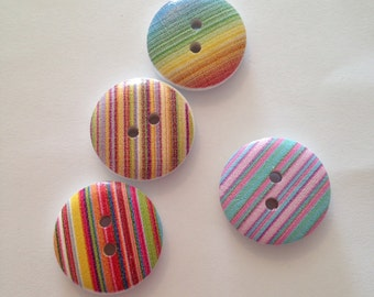 Stripey Round Buttons, pack of 15, 18mm.