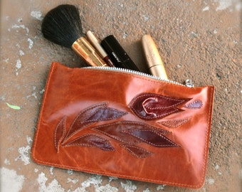 Cosmetics bag made of genuine leather