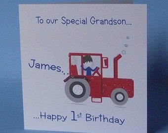 Personalised Handmade Tractor Card. Grandson, Son, Godson, Nephew, Brother, Little Boy 1st 2nd 3rd 4th 5th 6th 7th 8th