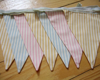 Handmade pastel-striped bunting