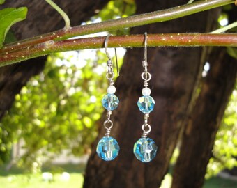 Swarovski Crystal, Pearl & Sterling Silver Earrings