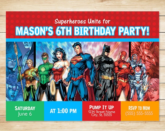 Printable Superhero Invitation Blue/Red // Superhero Invite / Super Hero Birthday / Superhero Party / Superhero Party Favors