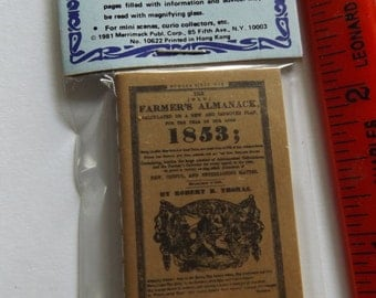 Miniature Dollhouse 1/12 scale 1853 Farmers Almanac Book 48 readable pages New in Package
