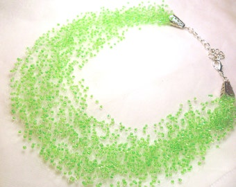 Light mint green multistrand necklace, crochet airy necklace, statement necklace, gift for her