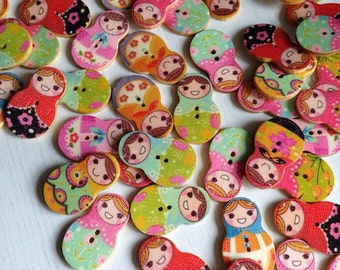 Russian Doll Wooden Buttons