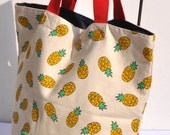 Canvas Tote  bag Shoulder bag in canvas pineapple  patron with free storage pouch- Shoulderbag - Canvas tote bag - striped bag