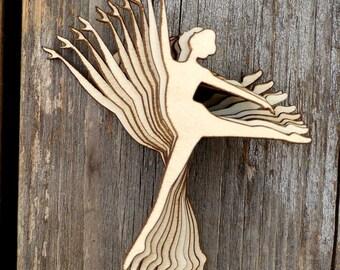 10 x Ballerina Silhouette in a Arabesque Pose Wooden Craft Shape